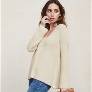 Reformation Collie Alpaca Cream V-Neck Sweater